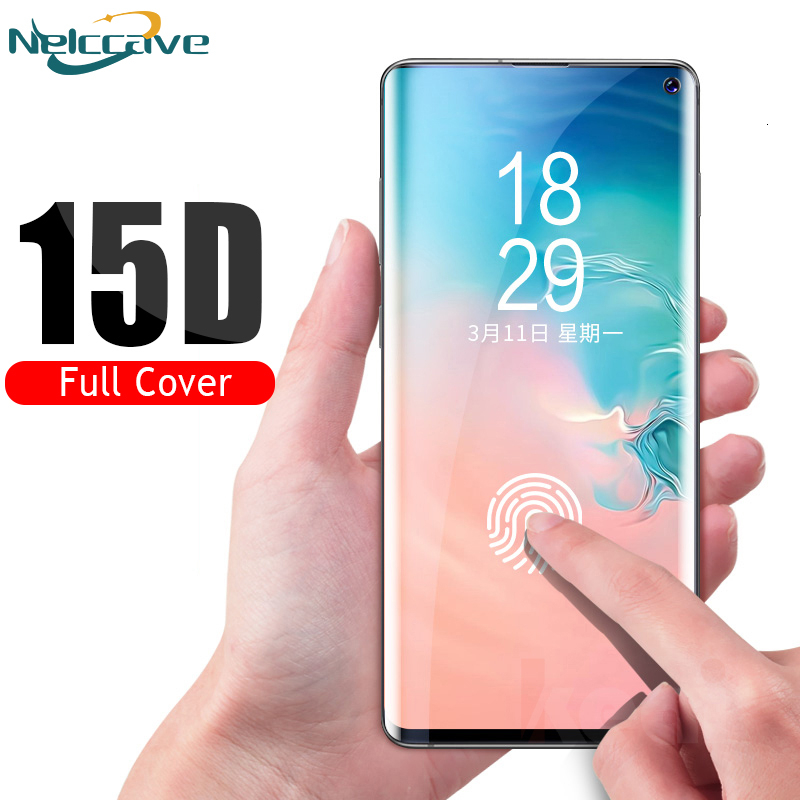 1000 Pieces 15D Curved Full Coverage Tempered Glass For Samsung Galsxy S10 Plus S9 S8 S7 Note 10 Pro 9 8 Screen Protective Film