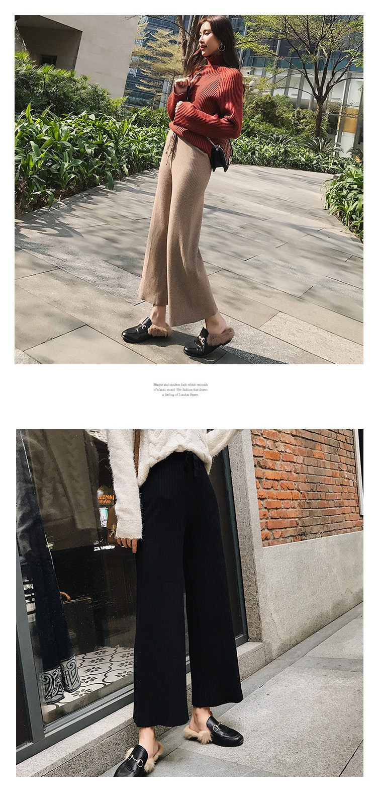 2019 autumn winter new THICK casual straight pants women female drawstring loose knitted wide leg pants casual Trousers 19