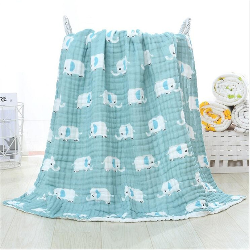 105cm*105cm Soft Breathable 6 Layers Gauze Baby Blankets Swaddling For Babies Wrap 100% Cotton Infants Baby Muslin Blankets