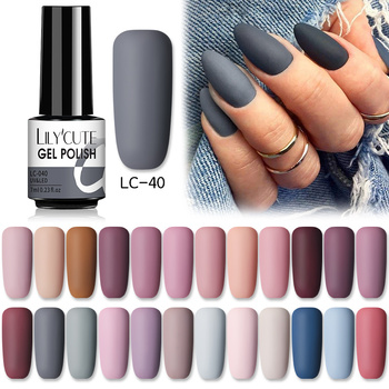 LILYCUTE 7ml Gel Nail Polish Winter Grey Color Series Semi Permanent Matte Top Coat Soak Off UV LED Nail Art Hybrid Gel Nail 1