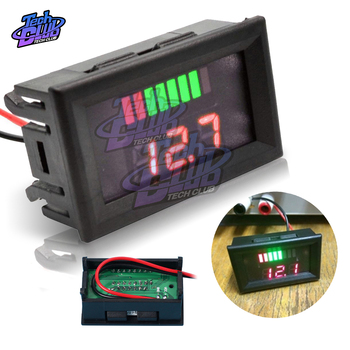 12V Car Lead Acid Battery Charge Level Indicator Battery Tester Lithium Battery Capacity Meter LED Tester Voltmeter Dual Display image