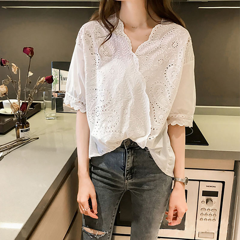 Women T-<font><b>shirt</b></font> New <font><b>Sexy</b></font> Crocheted Openwork Lace <font><b>Shirt</b></font> Female Loose Cover <font><b>Belly</b></font> V-neck <font><b>Shirt</b></font> Top White Color <font><b>Shirt</b></font> image