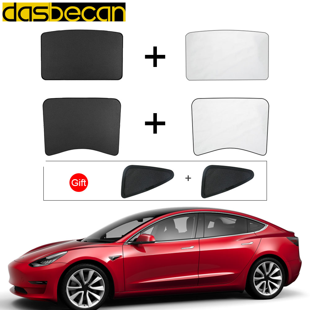 Auto Sunshade For Tesla Model 3 Front Rear Windshield Sunroof Gloss Roof Sun Visor Car Skylight Blind Shading Net Accessories