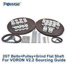 POWGE VORON V2.2 seti hareket parçaları GT2 LL 2GT RF açık zamanlama kemeri 2GT 16T 20T kasnak kapıları 110 2GT/ 188 2GT kapalı döngü mili