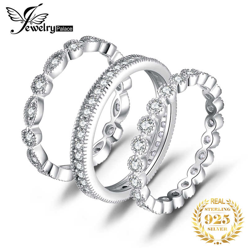 Jpalace Wedding Rings Sets 925 Sterling Silver Rings for Women Anniversary Eternity Stackable Band Ring Set Silver 925 Jewelry