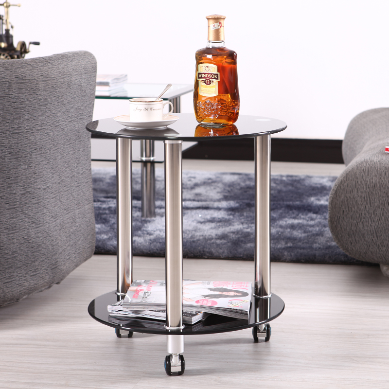 Glass round small coffee table living room stainless steel leg sofa side lockable universal wheel balcony bedside furniture image
