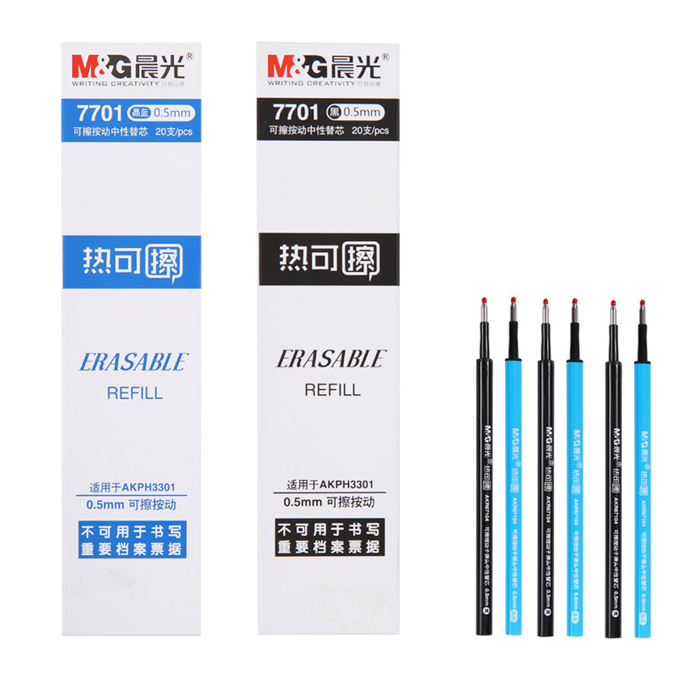20 Pcs/lot Retractable Erasable <font><b>Gel</b></font> <font><b>Pen</b></font> <font><b>Refill</b></font> <font><b>0.5mm</b></font> Blue/Black/Crystal Blue Thermal Erasable <font><b>Pen</b></font> for Student School Stationery image