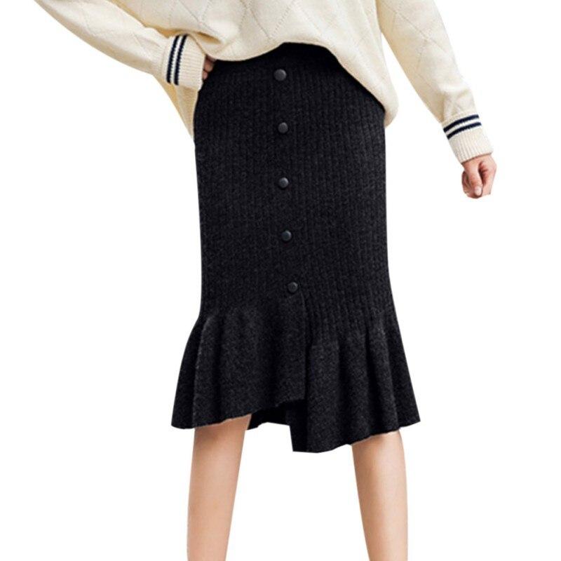 New Autumn Women Knit High Waist Irregular Design Skirt Solid Color Button  Skirt Tight Skirts Gray Black