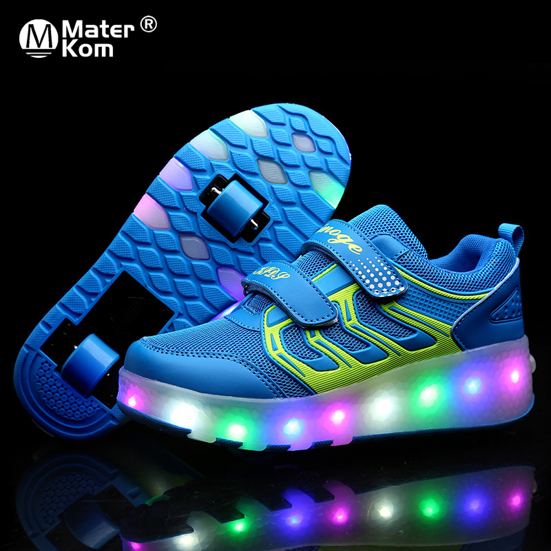 Size 28-43 Luminous LED Sneakers On Wheels Children Boys Roller Shoes With Lights USB Charged Glowing Skate Shoes For Kids Girls
