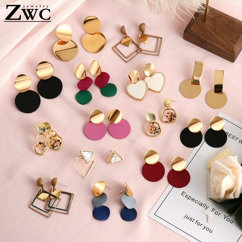 ZWC 2019 Fashion Korean Statement Drop Earrings For Women  Geometric Metal Gold Hanging Dangle Earring Modern Jewelry Wholesale