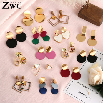 ZWC 2019 Fashion Korean Statement Drop Earrings For Women  Geometric Metal Gold Hanging Dangle Earring modern Jewelry Wholesale