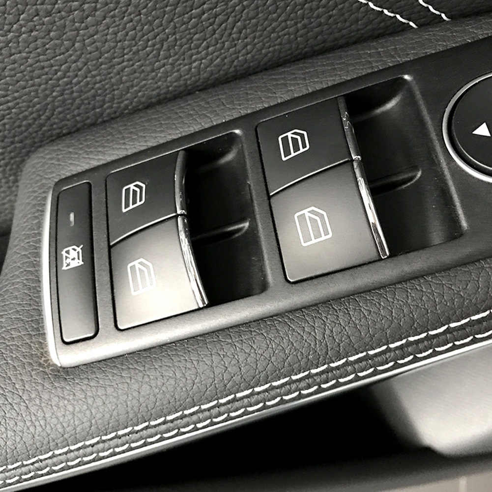 Para Benz A B C E G de la CIA CLS GLA ML GL GLS clase W176 W204 W212 X166 X156 Coche pegatinas de ajuste del botón del Control de elevación de la ventana de la puerta