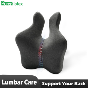 PurenLatex Lumbar Support Pillow Back Cushion Memory Foam Orthopedic Backrest for Car Office Computer Chair and Wheelchair Seat