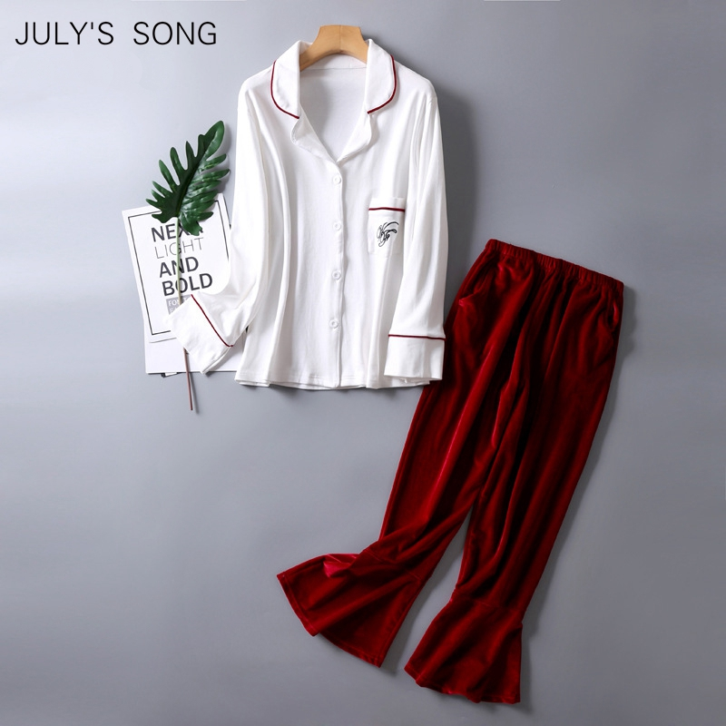 JULY'S SONG 2 Pieces Pajamas Set Top Cotton Trousers Velvet Pants Women Simple Spring Autumn Long Sleeve Suit Pajamas Home Wear