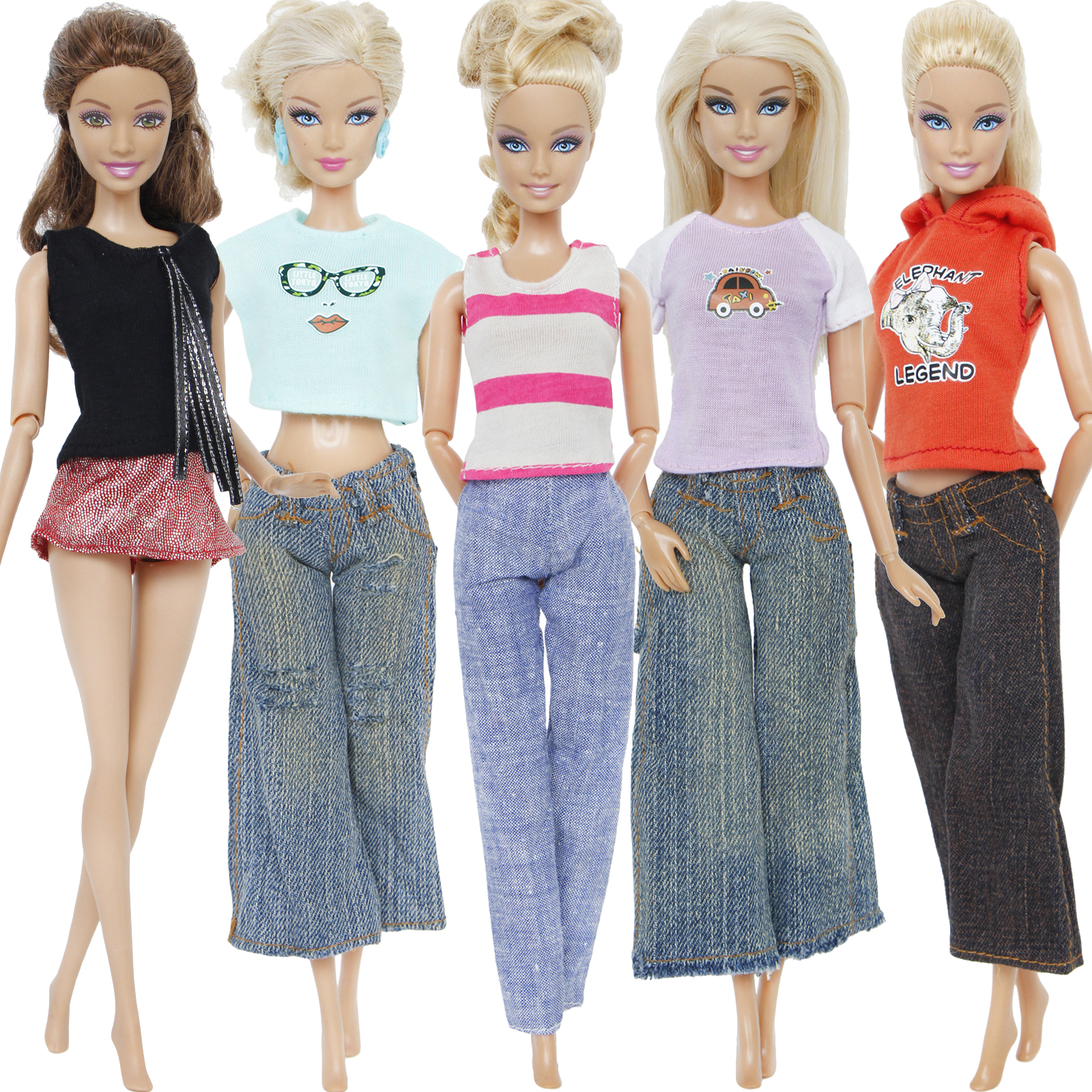 One Set Casual Outfit Mixed Style Daily Wear Blouse T-shirt Trousers Skirt Jeans Dress Accessories Clothes For Barbie Doll Toy