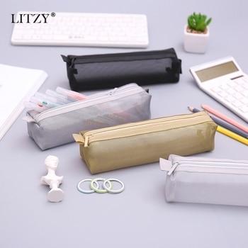 Schwarz Transparent Bleistift Fall für Schule Nylon PencilCase Mesh Bleistift Tasche Kleine Stift Box Schule Liefert Schreibwaren Geschenke