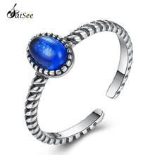 SaiSee 50% OFF Fashion Jewelry 925 Sterling Silver Retro Blue Red Adjustable Open Finger Rings for Women Vintage Ring