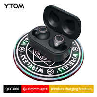 YTOM T1 Pro APTX TWS Bluetooth 5.0 Wireless Earphone Earbuds With Wilress Charging Function TYPE C Super Bass HD Mic Headset
