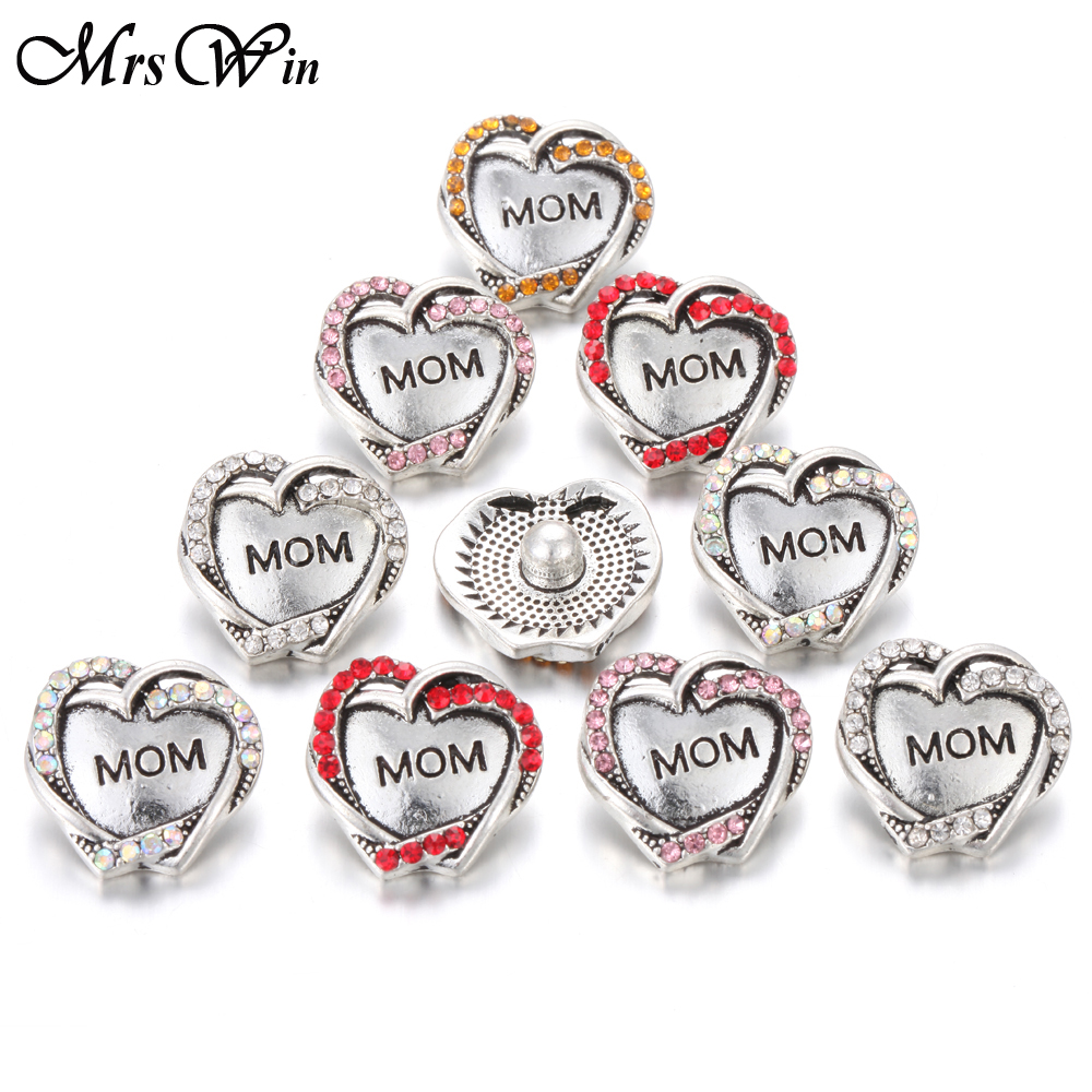 6pcs/lot New <font><b>Snap</b></font> Jewelry Crystal Mom <font><b>18</b></font> <font><b>mm</b></font> <font><b>snap</b></font> <font><b>buttons</b></font> lot for 18MM <font><b>snap</b></font> <font><b>button</b></font> bracelet Charms Mother's Day Gift image