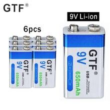 9 V 6F22 650mAh 리튬 이온 충전식 배터리 마이크로 USB 배터리 9 v 리튬 멀티 미터 마이크 장난감 원격 제어 KTV