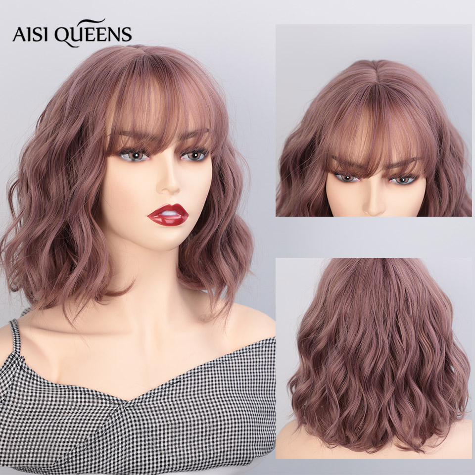 AISI QUEENS Synthetic Wigs With Bangs For Women Brown Water Wave Short Natural Bob Wigs Heat Resistant False Hair