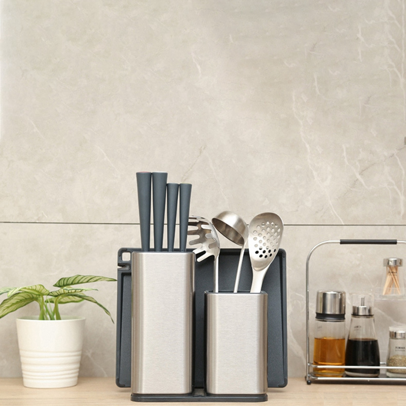 Hot Sale Stainless Steel Knife Holder Kitchen Rack Cutting Board Integrated Kitchen Tool Holder