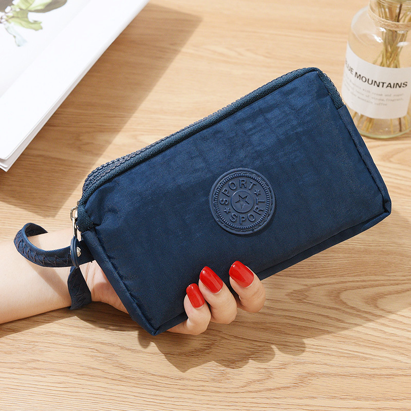 Fashion Women Canvas Wallet Clutch Bag Lady Coin Purse Phone Bag Three-layer Zipper Big Capacity Handbag Makeup Bag