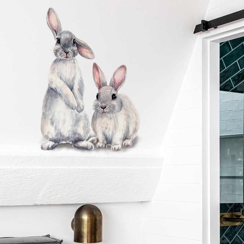 Deux lapins mignons autocollant mural chambre d'enfants décoration de la maison amovible papier peint salon chambre murale lapin autocollants