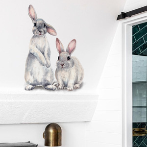 Image 4 - Two cute rabbits Wall sticker Childrens kids room home decoration removable wallpaper living room bedroom mural bunny stickers