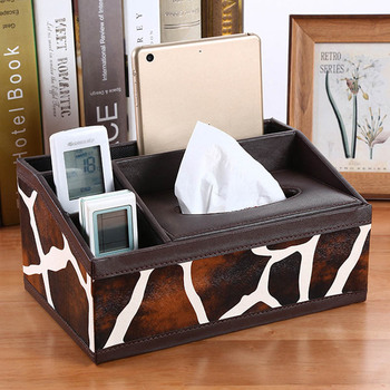 PU Leather Tissue Box Cover Desk Makeup Cosmetic Organizer Remote Controller Phone Holder Home Office Tissue Paper Napkin Box 2