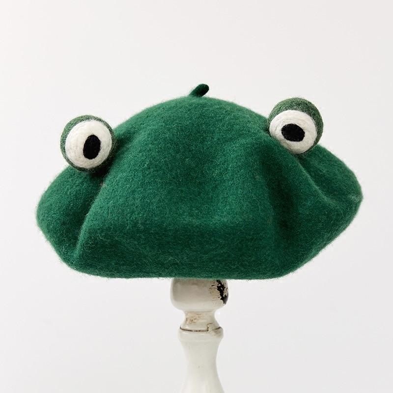 Зимний новый ручной шерстяной берет, милый забавный берет-лягушка, милый зеленый подарок, новинка, берет ручной работы