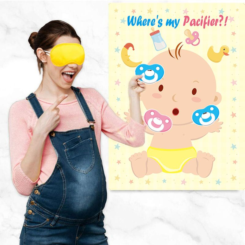 Pin The Pacifier On The Baby Game For Baby Shower Kids Birthday Party Supplies, Large Baby Shower Games Poster 24 Pacifier Stick