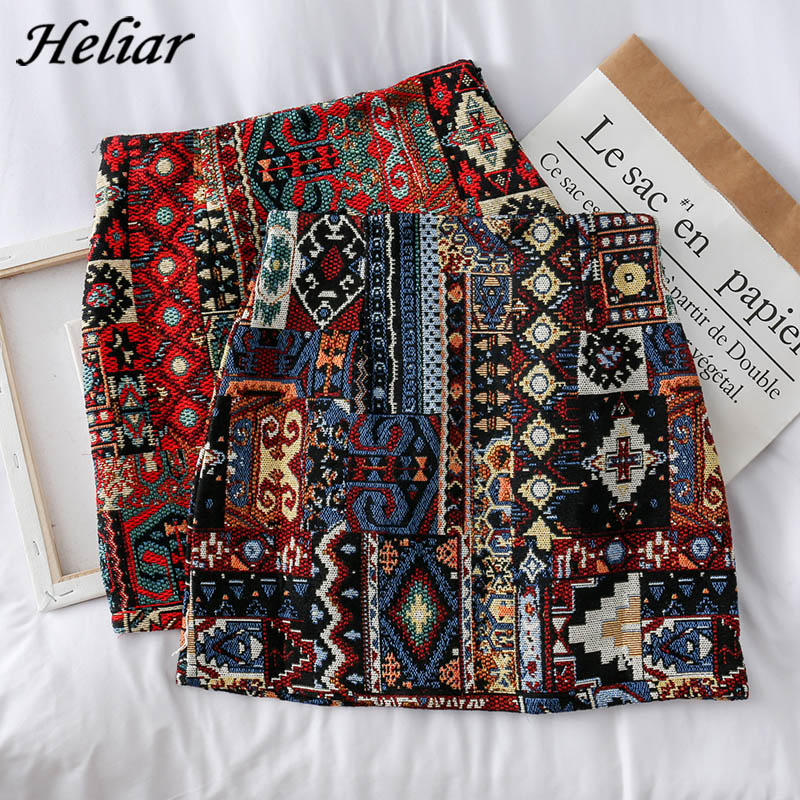 HELIAR Women Boho Skirt Embroidery A-Line Mini Skirts Chic Geometry Pattern Woolen Wide Leg Vintage Bohemian Folk Skirts Women