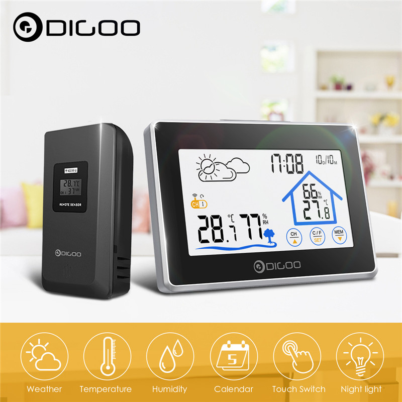 Digoo DG-TH8380 Touch Weather Station + Outdoor Forecast Sensor 3CH Backlit Thermometer Hygrometer Calendar