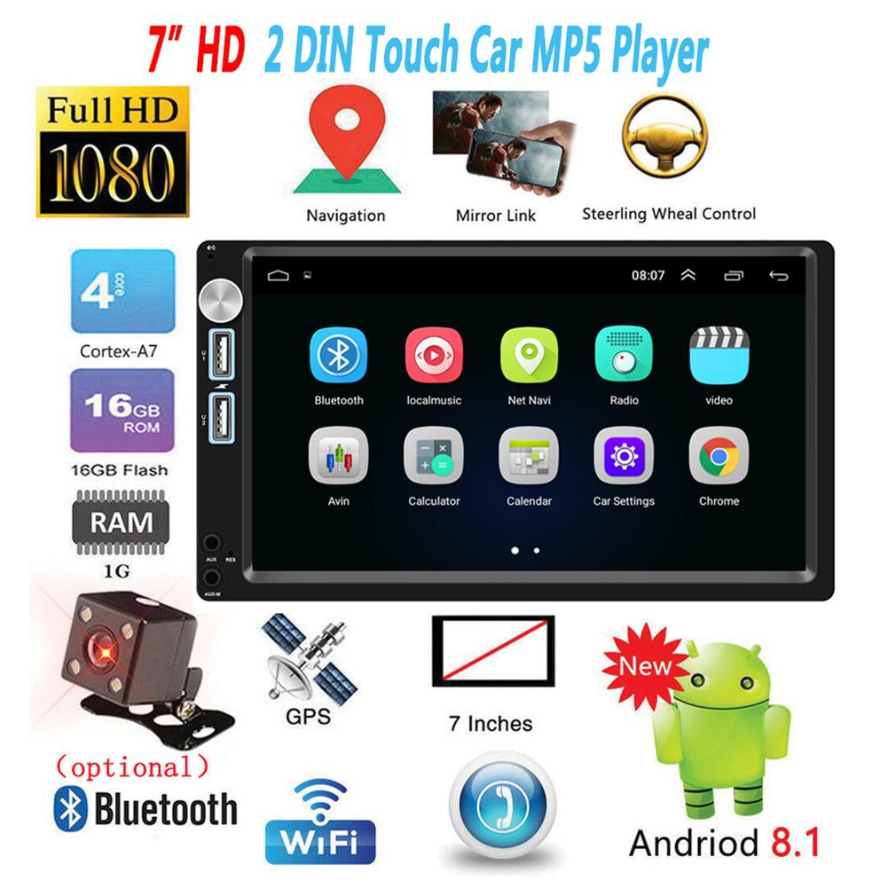 7inch Car Multimedia Player 2 Din Android 8.1 Car Radio Autoradio GPS Navigation Audio Mirrorlink MP5 Player With Rear Camera image