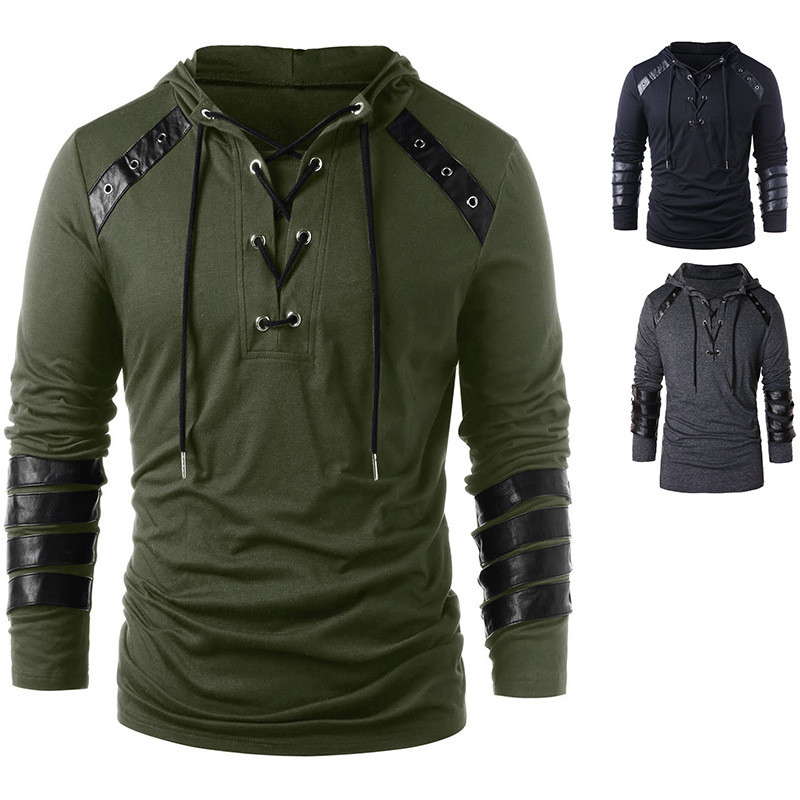 Men Tactical Military T Shirt Long Sleeve Army Combat Shirt Cuff Faux Leather Strap Neckline Drawstring Buckle Hoodie Sweatshirt