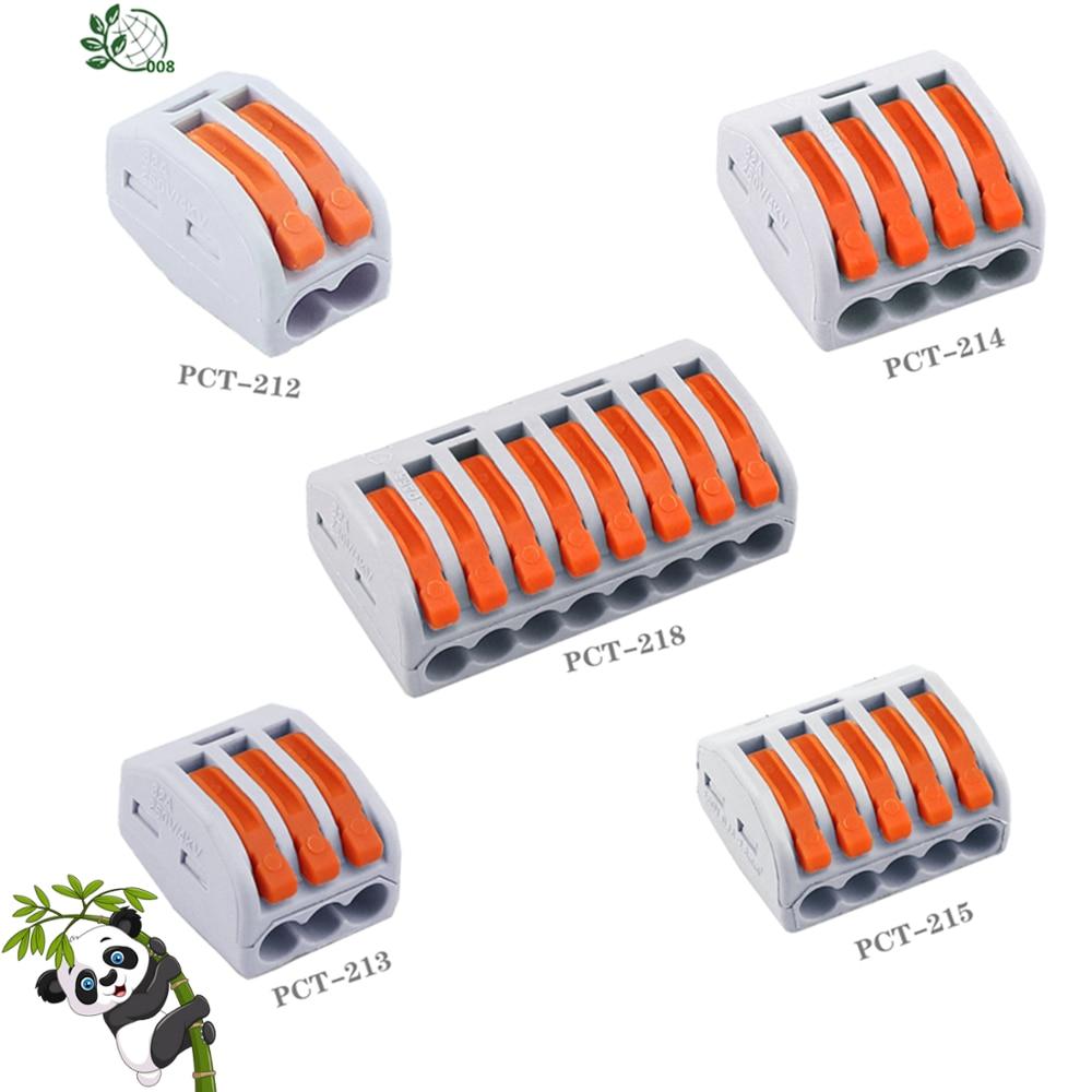 1/10/30 pces 222 mini conectores de fio rápido universal compacto conector de fiação push-in bloco de terminais PCT-212 213 214 215