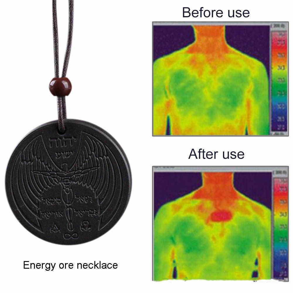 Nowa nauka kwantowa naszyjnik energii skalarnej okrągły wisiorek dla mężczyzn kobieta turmalin biżuteria z kamienia wulkanicznego