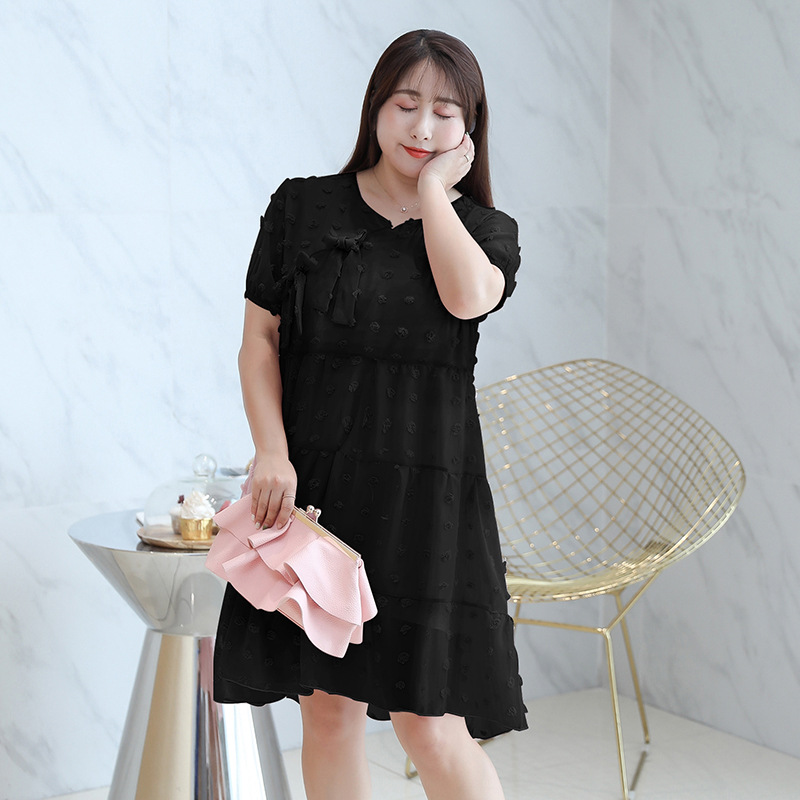 Fat Mm Large Size Dress 2019 Summer New Products Mid-length Modified Version Flag Chinese Style Retro Dress 1837