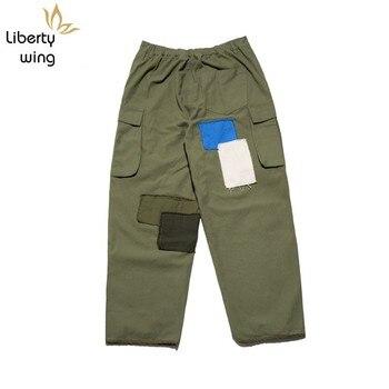 High Street Mixed Colors Cargo Men Autumn Casual Loose Patchwork Beggar Trousers Green Black Vintage Harem Pants
