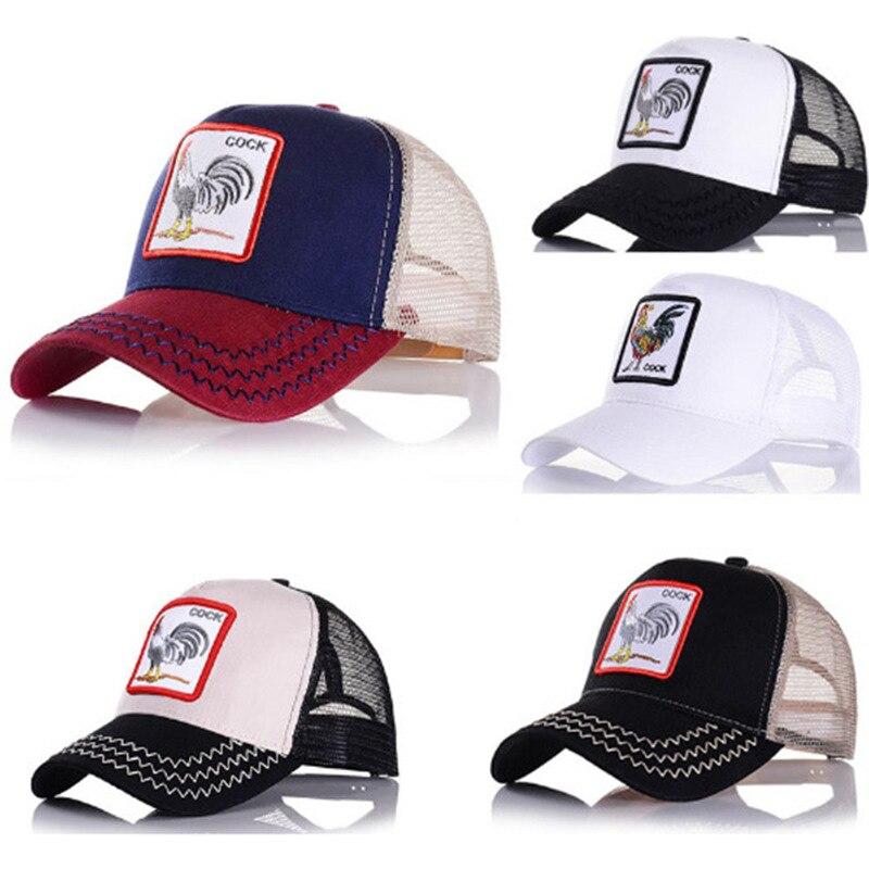 AliExpress-gorra de béisbol bordada para hombre y mujer, gorro de béisbol con bordado de animales, estilo camionero, con agujeros, para verano
