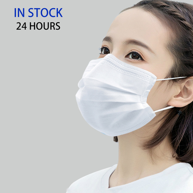 100pcs High Quality Non Woven Disposable Face Mask White 3-Layers safety breathable mouth masks printing filter Masque Dust mask 1