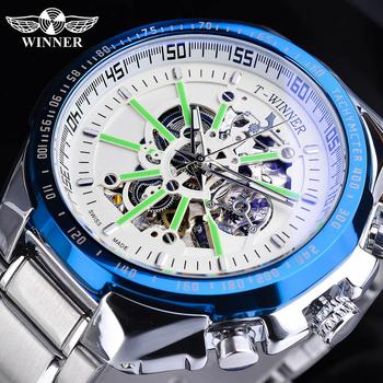 Winner White Skeleton Dial Design Automatic Mechanical Watch Silver Stainless Steel Band Waterproof  Clock Luminous Montre Homme mce men s fashionable stainless steel band analog mechanical watch silver white