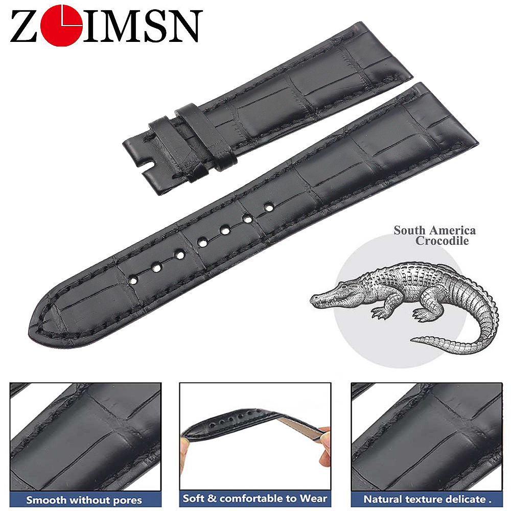 ZLIMSN Genuine crocodile leather Watch Band 21mm for Patek Philippe 5369G men's and women's watches