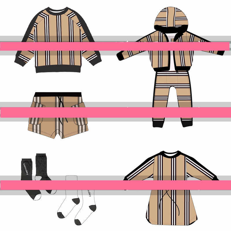 kids  Fashion striped T-shirt + striped pants + striped dress