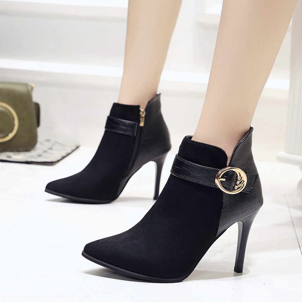 Botas de salto alto feminino outono e inverno nova moda feminina fivela cinta dedo do pé fino sapatos de salto alto botas de festa