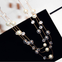 CN2111 New fashion Korean European and American Classic Pearl crystal three layer sweater chain