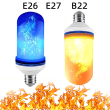 flame light E27 E26 B22 blue and yellow 3 modes + gravity sensor effect fire bulb 5W flashing simulation decorative lights