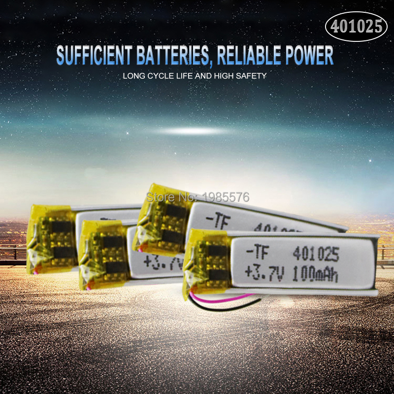<font><b>401025</b></font> 3.7V 70mAh PLIB Polymer Lithium Battery for GPS MP3 MP4 MP5 DVD Bluetooth Model Toy Mobile Bluetooth image