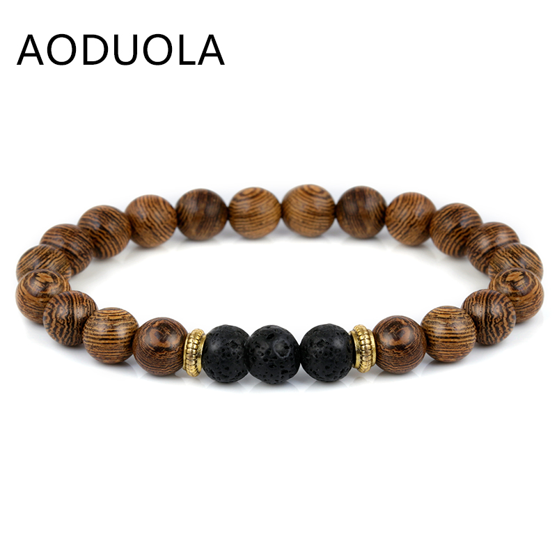 8MM Wood Beads Lava Bracelets men bracelet Elastique Ajustable Beaded Charm Friendship Men jewelry
